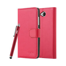 Slim Flip Book Soft Leather TPU Wallet Case Cover for Microsoft LUMIA Phone Nokia LUMIA 550 Red
