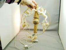 Vintage 5 Chenille Angel Light Up Circle Glitter Tree Topper As Is