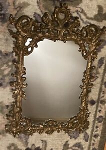 "Turner Wall Accessory P105 Hollywood Regency Gold Ornate Wall Mirror 29"" x 19.5"""