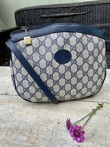 Authentic Gucci Vintage PVC Leather Blue Crossbody Bag 🌺
