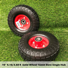 "2 x 10"" Hand Trolley Wheel puncture proof 3.50-4 Solid Heavy Duty No Air 16mm"