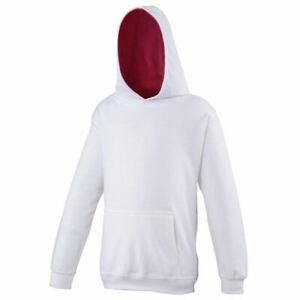 Kids Hoodie AWDIS Contrast Girls Hooded Jumper White Pink Sweat JH03J