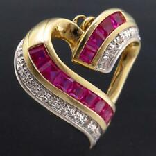 Sweet Stylized Love Heart Solid 9k GOLD Channel 12 RED RUBY & 3 DIAMOND PENDANT