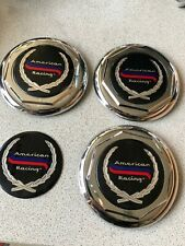 3 x NOS American Racing # 4512 chrome faux wire spoke wheel center caps