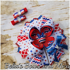 Patriotic Minnie Mouse handmade hair bow SET, memorial day, 4th of July,