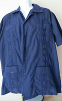 Vintage NAVY BLUE GUAYABERA SHIRT Mexican Cuban Embroidery Pockets Hipster Retro