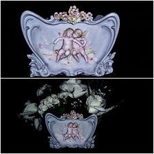 Antique Vase French Powder Blue Porcelain Cherub Angel Vase Figurine