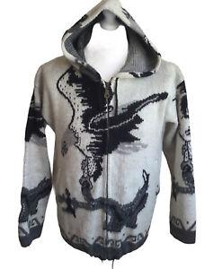 Tejidos Wool Hoodie Zip Up Jacket Eagle Ecuador S Unisex Cream