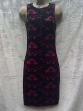 black burgandy maroon shift wiggle dress size 8 velour lace look Christmas party