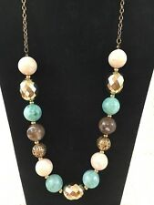 Necklace Large Beads Turquoise Cream Taupe Matching Earrings Pierced Vintage