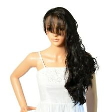 NWT ICENEL Long Wavy Bangs 20inch Synthetic LaceFront FullWig Off Black 1B - 003