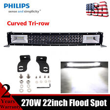 CURVED TRI-ROW 270W 22inch LED Light Bar FS Combo Beam Slim Lamp Offroad Philips