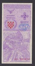CROATIA  2 Banice 1990 UNC-   PROPOSAL NOTE   Scarce prefix  CR