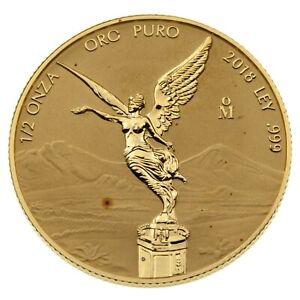 2018 1/2 Oz. .999 Fine Gold Mexico Libertad Reverse Proof Low Mintage 1000