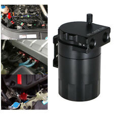 Black Aluminum Baffled Oil Catch Can Tank Reservoir Breather With All Fittings