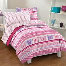 Pink Purple Dot Stripe Butterfly Comforter Bedding Set 7 Piece Full Size Bed