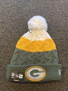 New Era Rhinestone Green Bay Packers Pom Knit Hat Women's NEW