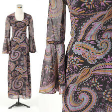 Vintage 1970s 1960s PAISLEY bell sleeve maxi dress PSYCHEDELIC RETRO PARTY