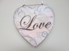 Shabby French Chic Heart Shape Love Home Decor Sign Postage Stamp Plaque
