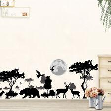 Wild Tree Elephant Bear Deer Black Animals Wall Stickers Poster Pvc Mural Art