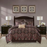 New Luxurious Brown Red Chenille Damask Silky Comforter 8 pcs Cal King Queen Set