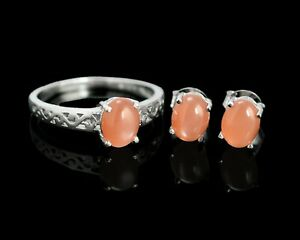 Natural Pink Moonstone Gemstone 925 Sterling Silver Ring Earring Jewelry Set