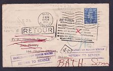 GB 1951 Cover Bath to Hong Kong Bearing Proud I23 I38 Return To Sender Rare