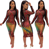 NEW Stylish Women's Long Sleeves Sequins Mesh Patchwork Bodycon Party Midi Dress