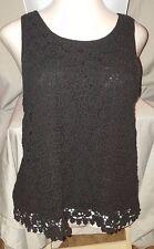 Jennifer Lopez Black Lined Knit Tank Top Button in Back -  Lace Flowers  Size XL