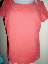 SUZANNEGRAE cotton TOP size 10 NEW&tags melon &embroidery summer work casual