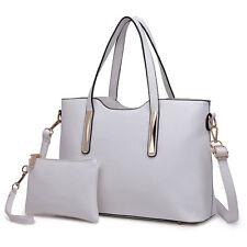 Fashion Ladies 2pcs Handbag Clutch PU Leather Tote Shoulder Bag Satchel Wallet White