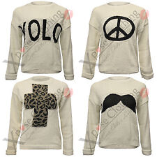 WOMENS LADIES LEOPARD CROSS SYMBOL YOLO SIGN JUMPER KNIT PULLOVER TOPS JUMPERS