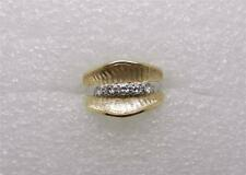 14K YELLOW GOLD AND PLATINUM RING GUARD WEDDING SET - SIZE 5.5  - LB0544