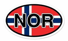 "NOR Norway Flag Oval car window bumper sticker decal 5"" x 3"""