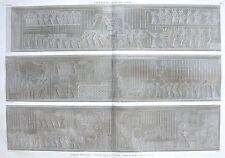 THEBES . MEDYNET ABOU. Marche triomphale sculptée dans la...  DESCRIPTION EGYPTE