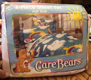 """Care Bears Vintage 2001 new full size sheet set """"Catch Some Sun"""" New In Package"""