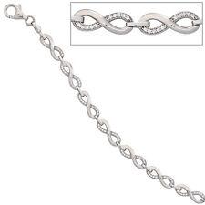 NEU Damen Glitzer Armkette 925 echt Silber 925er Zirkonia Armband 19 cm 5,5 mm