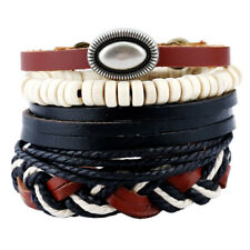 Navy Blue Men Women Fashion Leather Bangle Bead Cuff Wristband Bracelet 4pc Set