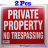 """2 Pcs """"PRIVATE PROPERTY NO TRESPASSING"""" 9""""x12"""" Red & White Flexible Plastic Sign"""
