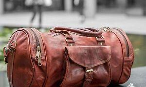 Travel Men Luggage Gym Bag Leather Duffel Vintage Genuine Weekend Overnight New
