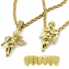 """Mens 14k Gold Plated 2 pcs set of Angels 4mm 30"""" & 24"""" Rope chains Bottom Grillz"""