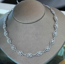 20Ct White Radiant Moissanite Halo Wedding Chain Necklaces 925 Sterling Silver