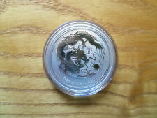 2012 1 oz Silver Lunar Year of The Dragon BU Australian Perth Mint In Capsule