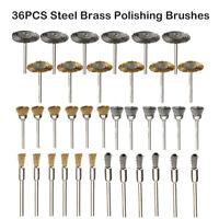 36PCS Steel Brass Wire Wheel Polishing Pad Brush Set For Dremel Rotary Tool AU