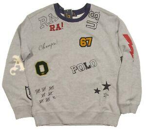 Polo Ralph Lauren Boys Grey Heather Multi Graphic Terry Pullover Sweatshirt