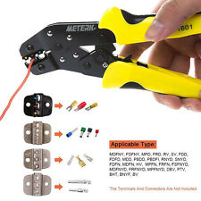 Insulated Cable Connectors Terminal Ratchet Crimping Wire Crimper Plier Tool Kit