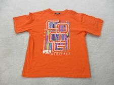Coogi Shirt Adult Extra Large Orange Blue Spell Out Logo Cotton Mens
