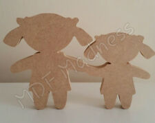 MDF CRAFT SHAPE. WOODEN SISTERS / FRIENDS. 18MM FREE STANDING 15CM HIGH