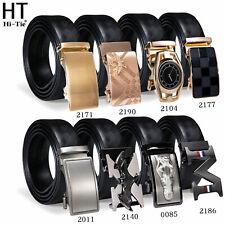 Mens Belts Ratchet Automatic Buckles Formal Belt Button Genuine Leather Business