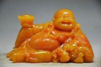 COLLECTIBLE CHINESE SHOUSHAN STONE HAND CARVED MAITREYA BUDDHA STATUE